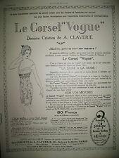 PUBLICITE DE PRESSE CLAVERIE CORSET VOGUE FRENCH AD 1921