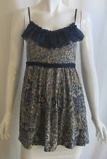 ANTHROPOLOGIE KIMCHI BLUE Beige Blue Ruffle Cami Tank Top Mini Dress Small