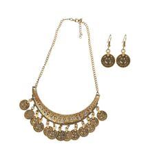 1 Set Jingle Dancing Gypsy Jewelry Ethnic Coin Necklace & Earring Jewelry Women