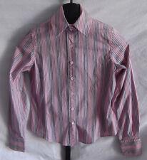 Faconnable Pink & Purple Striped Button down Shirt Misses Size XS Cotton Blend