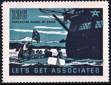 """Let's Get Associated #136 """"Vancouver Names Mt. Baker"""" Mnh"""