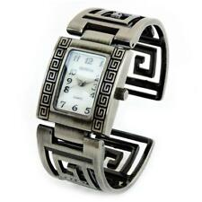 Pewter Brushed Finish Designer Style Fashion Women's Bangle Cuff Watch