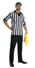 Adult Referee Shirt Hat & Whistle Ref Costume Size XLarge