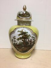 Dresden porcelain Helena Wolfsohn yellow lidded jar / urn 19th century