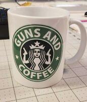 Guns and Coffee - Starbucks Drink Tea Green Logo Shoot - Funny Coffee Mug