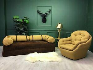 Vintage Retro Unique  Sofa bed + egg chair 1980s