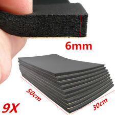 9pcs 6MM Car Sound Dampening Mats Subwoofer Audio Insulation Foam Self Adhesive