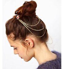 Women BOHO Faux Crystal bling Gemstone hair Comb head tassel Chain Clip Pin