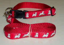 WESTIE COLLAR&LEASH SET RED PLAYFUL FREE SHIP USA