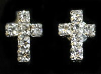 Tiny Cross Crystal Rhinestone Diamante Magnetic CLIP ON Earrings Stud Mens