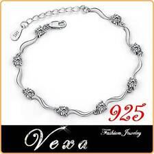 925 Sterling Silver Crystal Rhinestone Bracelet Bangle Ladies Charm Wedding BS15