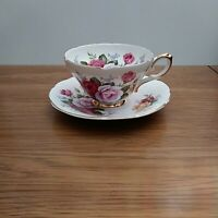 Royal Sutherland Footed Teacup & Saucer made Staffordshire w/large Roses