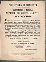 MONTE S.GIUSTO-BANDO-MUNICIPIO MONTE S.GIUSTO-FIERE MAGGIO E OTTOBRE-1863-L1124