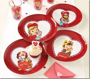 NEW TWELVE(12) PIECE SET POTTERY BARN KIDS VALENTINE HEART PLATES,TUMBLERS,BOWLS