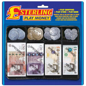 Pretend Toy Play Money - Childrens Realistic Plastic Coins & Paper Notes