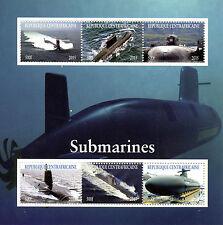 República Centroafricana 2015 CTO submarinos 6v M/S Barcos Buques sellos