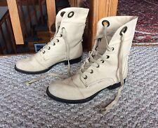 NINE WEST Vintage Pixie Boots Canvas Beige Romantic Combat Lace Up 5.5M