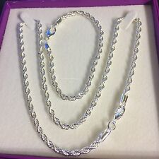 "SET 925 silver overlay rope chain 20"" necklace & 8"" bracelet Plum UK BOXED"