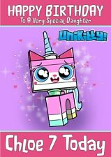 personalised birthday card unikitty any name/age/relation.