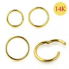 14ct Solid Yellow Gold Classic Hinged Segment Captive Nose Tragus Ring 18g 8mm