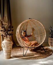 Hanging Ball Swing - Made of natural rattan - boho style - indoor