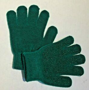 Green Knit Riding Gloves with Pebble Palms - Child - One Size Fits All