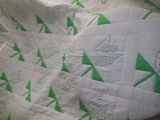 Queen Size Quilt Handcrafted Tulip Design Green Blue White Finished Quilt