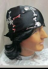 Black Pirate Bandana Skull & Crossbones Ladies Mens Kids Fancy Dress Book Day