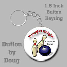 Bowling Keyring Personalized with Name, City and State 1.5 Inch Button Charm