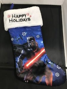 Disney Star Wars Darth Vader Tie Fighters Christmas Stocking Happy Holidays 20""