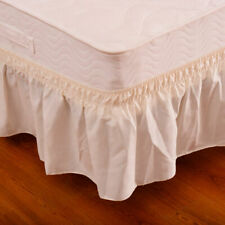 "Beige QueenKing Size Elastic Bed Wrap Ruffle Bed Skirt Around Bed 14"" Drop"