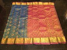 Kanchipuram Indian Silk Saree Bollywood Bridal Diwali Sari Blue Gold Pink S12