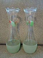 Vintage pair of Bartlett Collins vases frosted aqua floral hand painted 9""