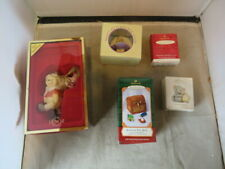 Lot of five Christmas Ornaments Hallmark Sweet Mouse, Rocking Horse, Toy Box