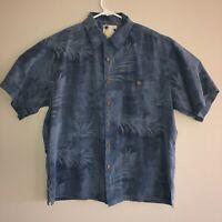 Banana Cabana Tropical Leaf Blue 100% Silk Hawaiian Button Shirt Men's Large