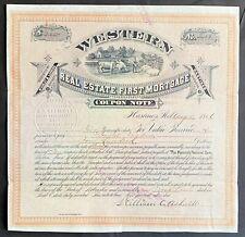 WESTERN REAL ESATE FIRST MORTGAGE COUPON NOTE 1886. Hastings, Adams Co, Nebraska