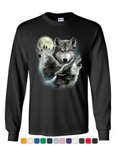 Howling Wolf Pack Long Sleeve T-Shirt Wild Wilderness Animals Nature Moon Tee