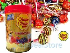 100 Best of CHUPA CHUPS Lollipops Assorted Flavour Lollies Jar 1.2kg Bulk Pack