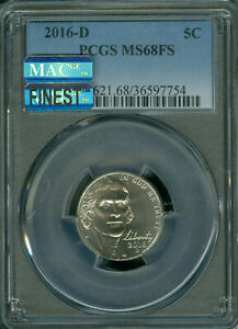 2016-D  JEFFERSON NICKEL PCGS MS68 FS PQ MAC FINEST REGISTRY MAC SPOTLESS*
