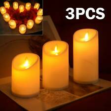 3X Flameless Wax LED Flickering Candles Dancing Battery Operated Mood Light UK