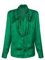 Grasgrüne Satinbluse Raffung Rüschen Gr.46 KLINGEL Satin Seidenbluse Bluse grün