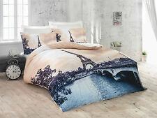 3D Romantic Paris 100% Cotton Sateen Duvet Cover Bedding Set Double Eiffel Tower