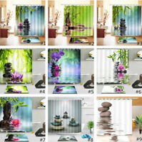 Waterproof Fabric Health Spa Zen Shower Curtain Liner Bathroom Bath Mat & Hooks