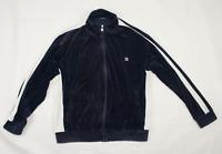 Fila Velour Track Jacket Mens Size L Large Blue 80s Retro Vintage Tracksuit Top