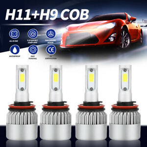 4pcs H11 H9 Combo LED High Low Beam Headlight Fog Bulb for 07-18 Nissan Altima