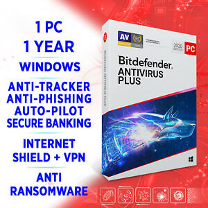 Bitdefender Antivirus Plus 2021 1 PC 1 year, FULL EDITION, ACTIVATION KEY + VPN