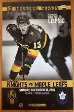 Vegas Golden Knights vs  Maple Leafs 12/31/17 Inaugural Poster Brendan Leipsic