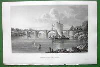 GERMANY Bridge Over Wesser at Nienburg - CPT BATTY Antique Print Engraving