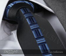 BLACK & BLUE CENTRAL MOTIF SILK TIE - ITALIAN DESIGNER