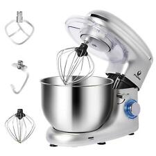 Electric Food 6 Speed 6QT 660W Tilt-Head Stainless Steel Stand Mixer Bowl Silver
